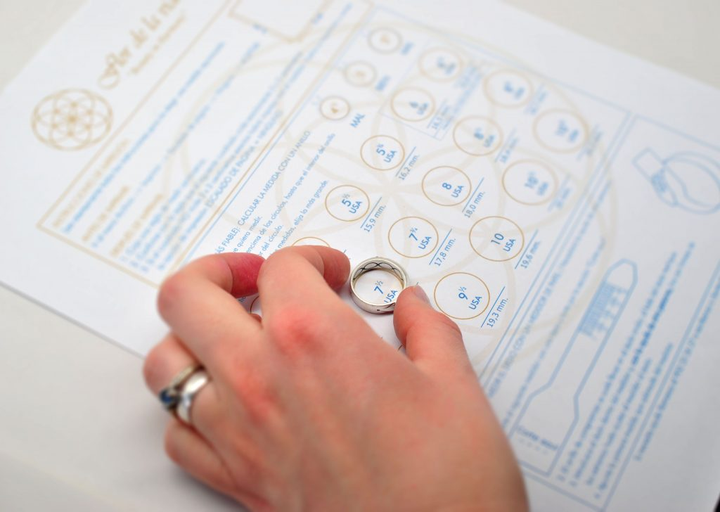 medidor de anillos impreso